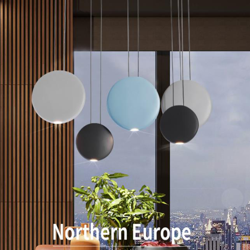 Nordic style Macaroon color LED resin Pendant Lights Post-Modern hanging lamp creative dinning room restaurant lamps