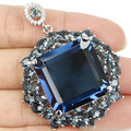Big Gems 22x22m London Blue Topaz, White CZ Created SheCrown Woman's   Silver Pendant 50x38mm
