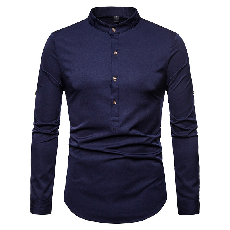 Loldeal Chinese Style Men Long Sleeve Button Irregular Solid Retro Shirts Men's Silk Satin Shirts