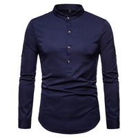 Loldeal Chinese Style Men Long Sleeve Button Irregular Solid Retro Shirts Men's Silk Satin Shirts