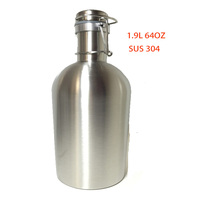 Home Brew 2L 64 Oz Food Grade 304 Stainless Steel Beer Bottle Swing Top Beer Growler