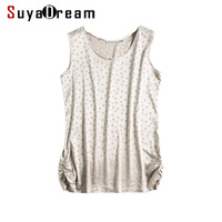 100 REAL SILK Women Tanks O Neck Dots Tank Top Silk Satin Top Femininas Sleeveless Shirt
