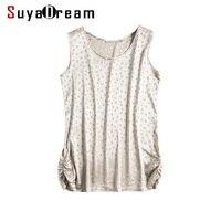 100 REAL SILK Women Tanks O Neck Dots Tank Top Silk Satin Top Femininas Sleeveless Shirt