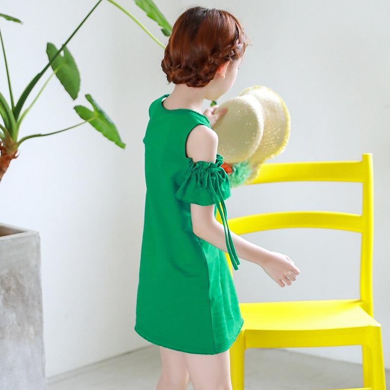 e47974739 Big Girls Summer t shirts Dress 2018 Off Shoulder Green Kids Dresses ...