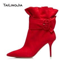 цена на 2019 Hot Elegant Big Size Hot Women Pointed Toe High Heel Pleated Black Ankle Boots Sexy Ladies Autumn Winter Shoes Thin Heels