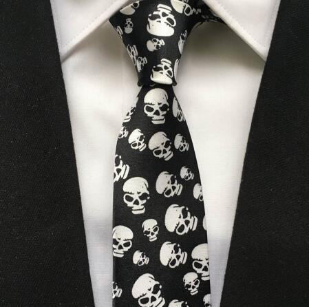 5cm Popular Men Casual Narrow Ties Fashion Printed Necktie Big Skull Notes Gravata For Party Tie