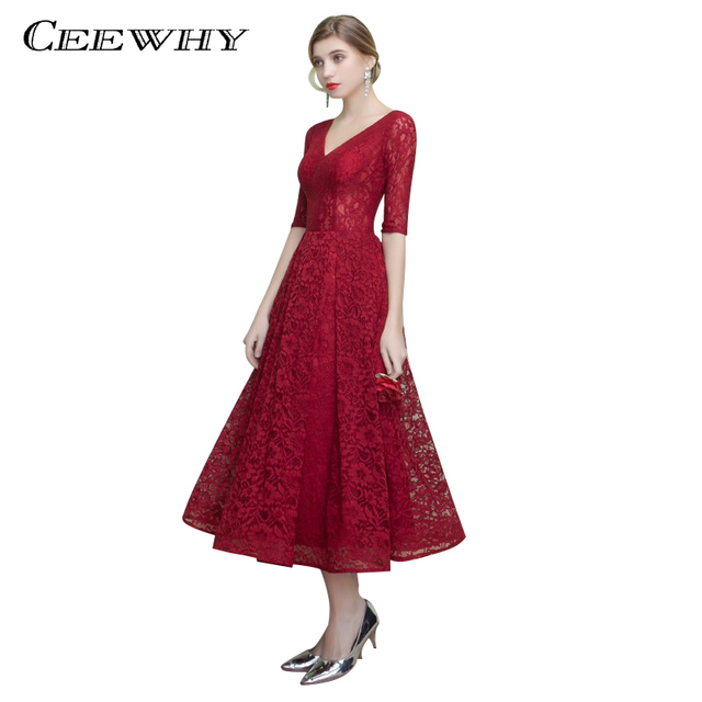 CEEWHY Burgundy Tea-length Lace Dress V-Neck Half Sleeve Evening Dress  Mother of the Bride Dresses Abiye Formal Prom Dresses 92a44118223d