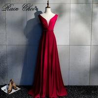 Burgundy Evening Dress 2020 Vestido De Festa A Line Party Gowns Sexy Long Prom Evening Dresses