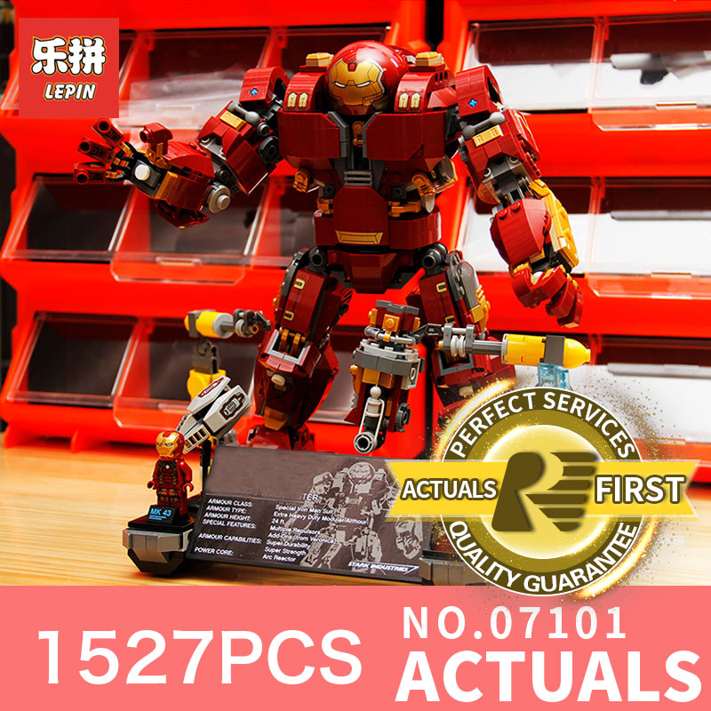Lepin 07101 1527Pcs Super Classic Hero Iron Man Anti Hulk Mech Toy Building Bricks Blocks toys Model Compatible 76105 for boys lepin 663pcs ninja killow vs samurai x mech oni chopper robots 06077 building blocks assemble toys bricks compatible with 70642