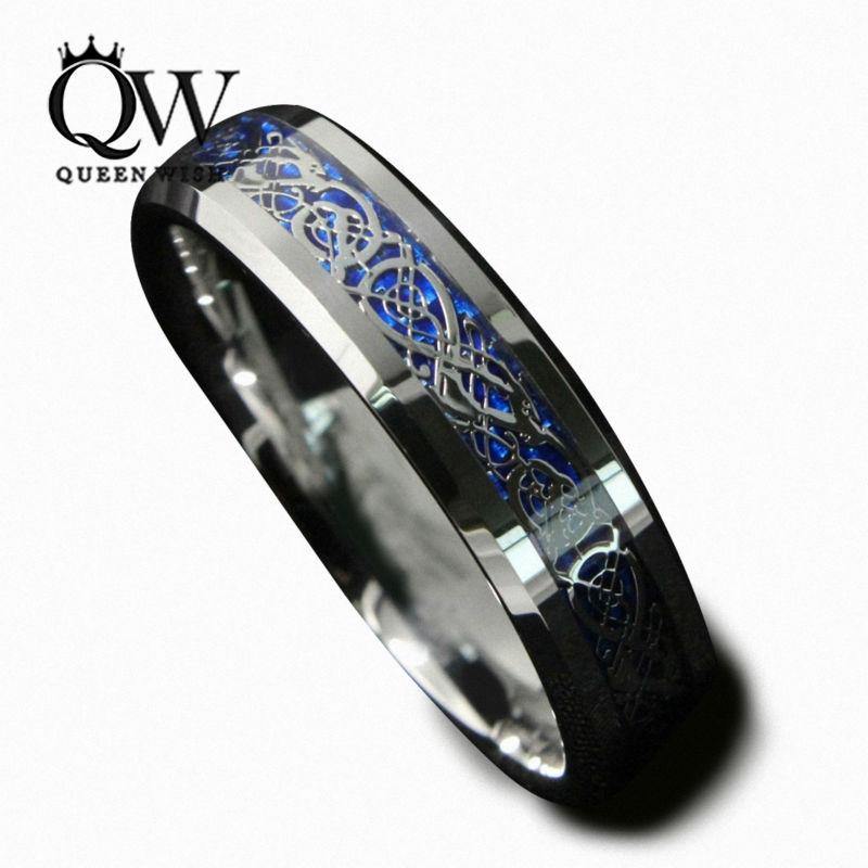 Queenwish 6Mm Blue Silvering Celtic Dragon Tungsten Carbide