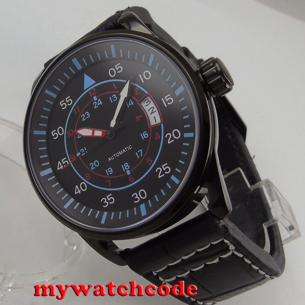 44mm planca black dial PVD case date miyota automatic movement mens watch 44mm planca black dial luminous 24 hours miyota automatic movement men s watch men pl1