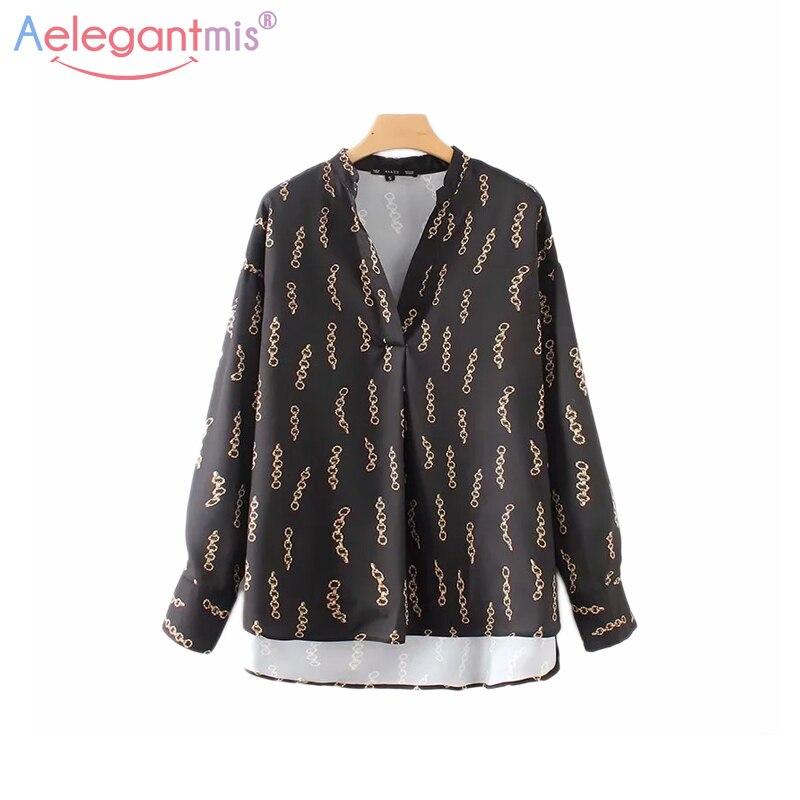 Aelegantmis Fashion New Chain Print Chiffon Blouse Women