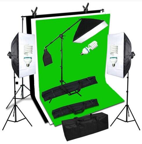 Nouvelle Photo Studio 405 W D'éclairage Continu Soft box Kit Ampoule/Lumière Stand/Boom Arm