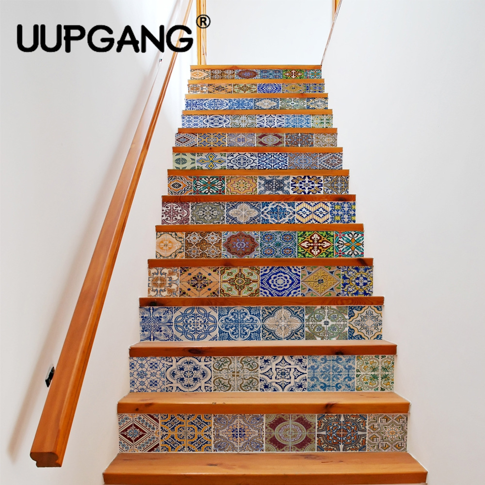 13pcs 18cm*100cm 3D Creative DIY Stairway Stickers Simulation Ceramic Tile for Room Stair Home Decoration Decor Floor Wall Stick