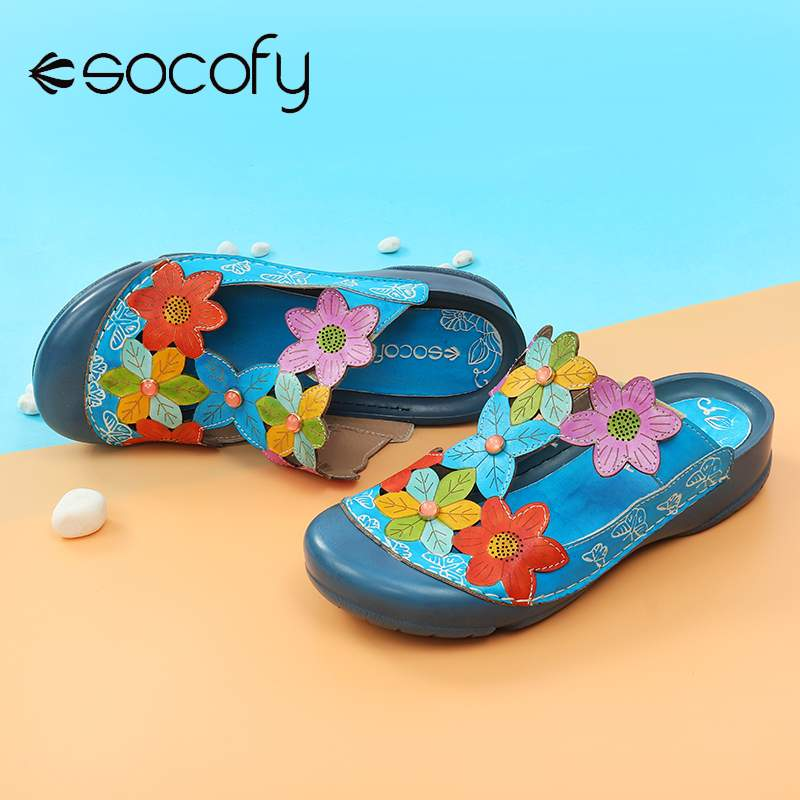 Socofy 2020Women Retro Genuine Leather Sandals Splicing Flowers Pattern Adjustable Loop Flat Sandals Hand-painted Vintage Shoes