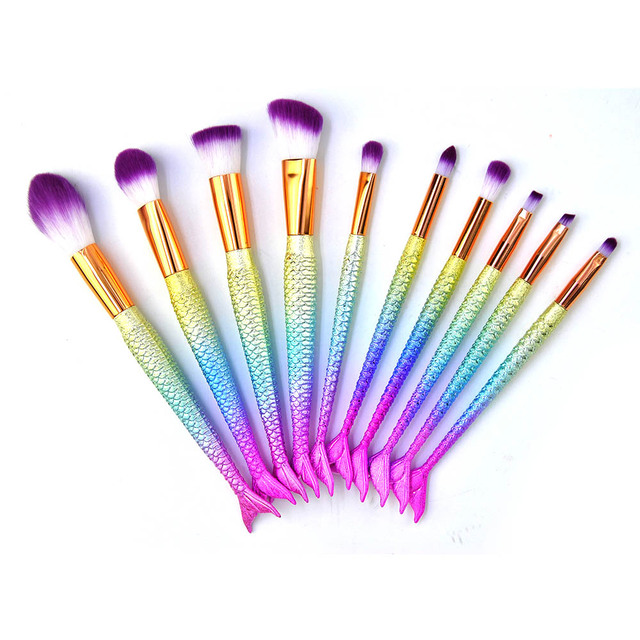 11pcs Mermaid Makeup Brushes Foundation Eyeliner Concealer Brushes Fish Tail Cosmetic brochas maquillaje Make up Brushes 5