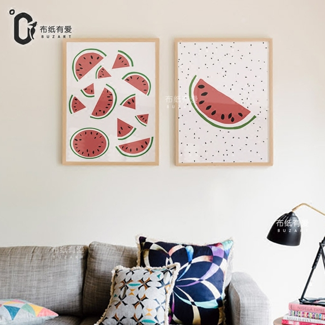 Semangka Gambar Dekoratif Untuk Dapur Kanvas Wall Art Poster Dekorasi Rumah Lukisan No Frame
