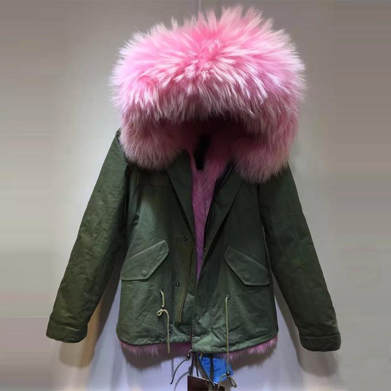Fashion Winter Luxury big raccoon Hood faux fur liner woman Winter jacket