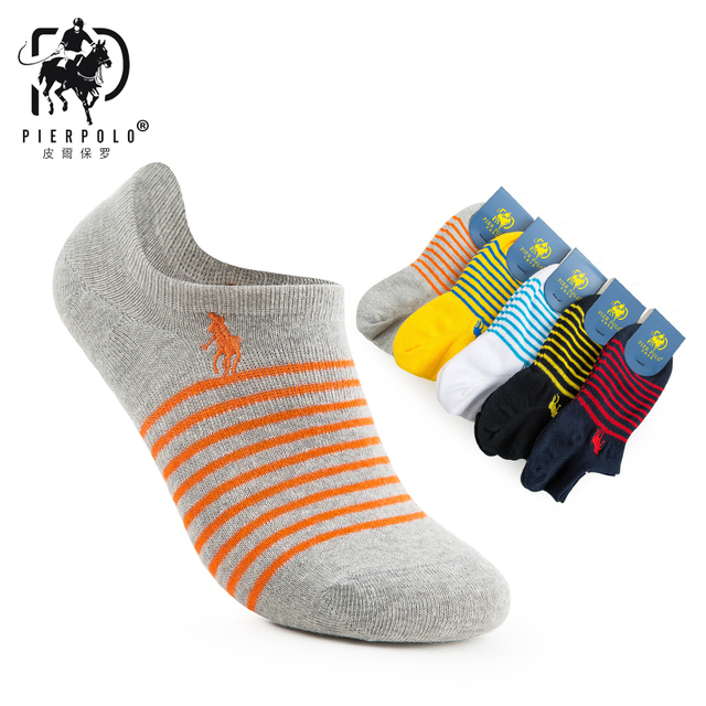 PIER POLO new fashion striped men's happy socks men's casual brand short low cut and socks 5 pairs/piece exquisite gift of men