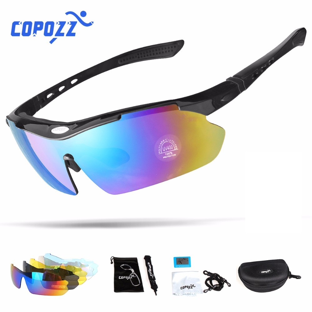 Copozz Sport Sunglasses Eyewear Bicycle Bike Mountain-Goggles Myopia Polarized 5-Lens title=