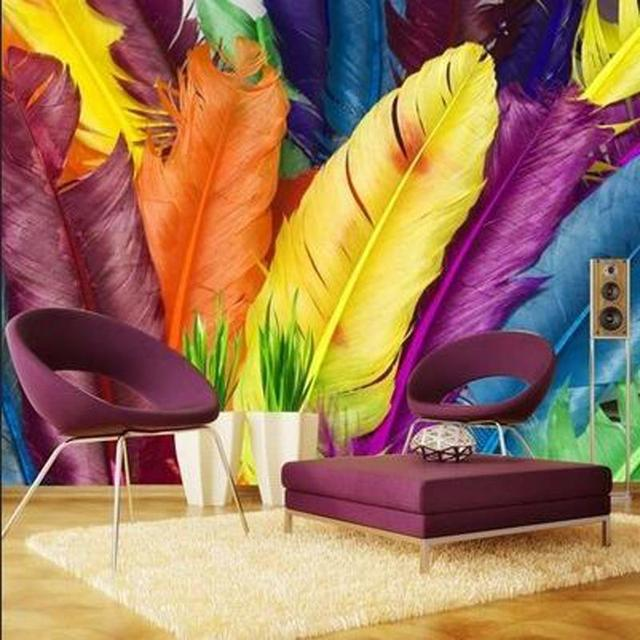 Great Wall Modern Colourful Feathers 3d Wallpaper Mural For Office Room3d Murals