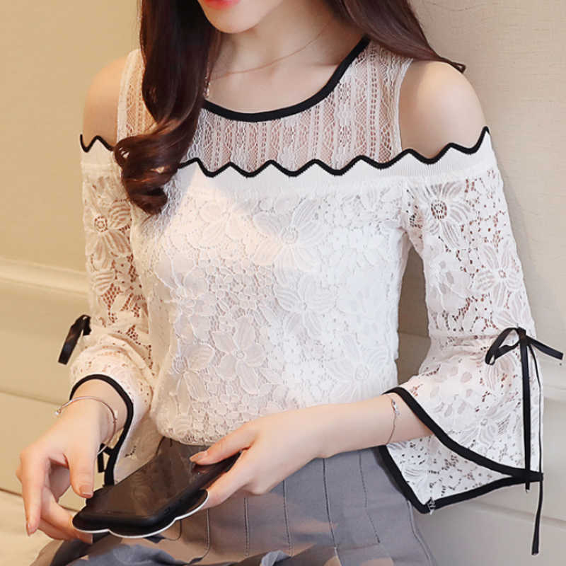2019 Nieuwe vrouwen Fashion Kant Chiffon Stiksels Blouse Flare Mouw Top Kant O-hals Blouse Strapless Sexy Vrouwen Kleding D597 30