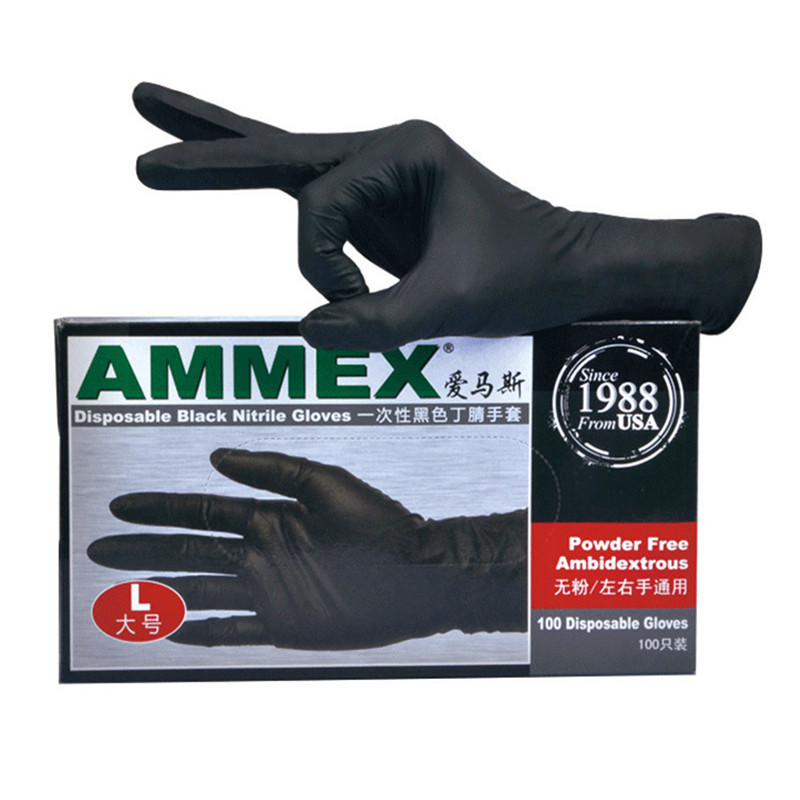 100 Pcs/Box Disposable Nitrile Gloves Black Rubber Safety Gloves Laboratory Nail Art Medical Tattoo Antistatic Work Gloves