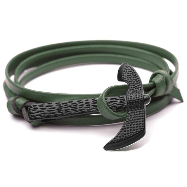 Bracelet en cuir couleur noire grande hache Viking 5