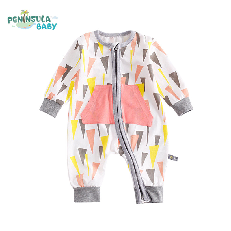 Peninsula Baby Brand Baby Rompers Long Sleeves Cotton Jumpsuit Baby Pajamas Newborn Infant Girls Boys Autumn Clothes Wear warm thicken baby rompers long sleeve organic cotton autumn