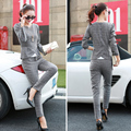 New 2017 Two Piece Set Top and Pant Long Sleeve Plaid Elegant Women Pencil Pants Suit Fashion Ladies Ruffles Trousers Sets