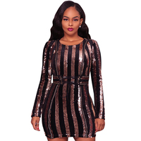 Sexy Striped Gold Sequin Dress Women Long Sleeve Bodycon Sparkly Dresses Drawstring Waist Christmas Party Bandage