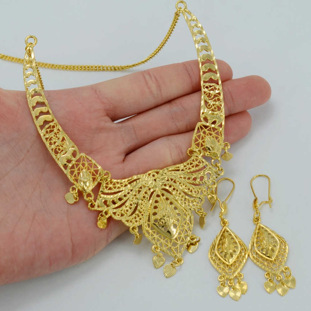 Anniyo Dubai Wedding Jewelry sets Gold Color Necklace Earrings
