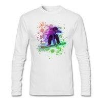 Neon gökkuşağı boya sıçramak snowboarder Gömlek Mens tasarım rock and roll t-shirt genç American apparel O Yaka ile Graith