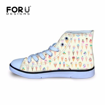 FORUDESIGNS Children Shoes Sneakers for Girls Cute Tumblr Ice Cream Printing Sport Running Shoes High Top Kids Football Boots