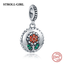 StrollGirl Authentic 925 sterling silver Sunflower Clear CZ Beads Fit Pandora Charms Bracelets Silver Original DIY Jewelry