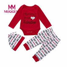 (Ship From US) MUQGEW Baby Valentineu0027s Day Outfits Letter Romper Pants Hat