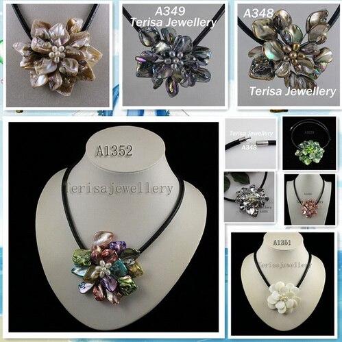 Идеальное ожерелье в виде цветка из натуральной раковины, белое ожерелье из пресноводного жемчуга, ювелирные изделия из черной кожи, новинка