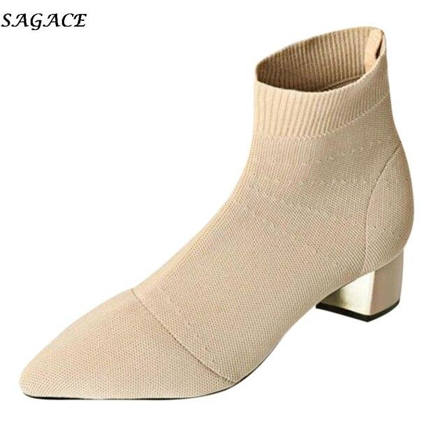 SAGACE Phụ Nữ của Mắt Cá Chân Khởi Động 2019 Mới Thời Trang mùa xuân Rắn Toe Nhọn Gót Vuông Đan Khởi Động phụ nữ Giản Dị Trượt- trên Giày #35