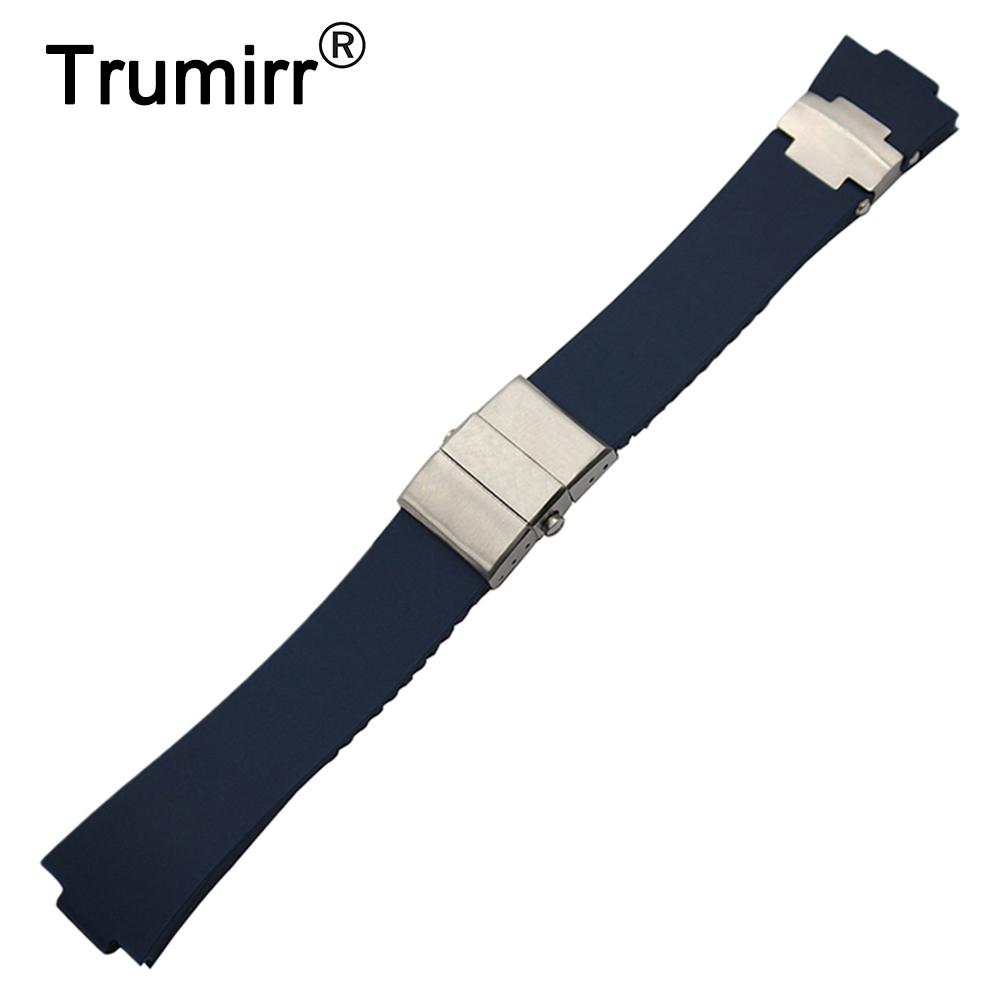 Silicone Rubber Watchband 25 x 12mm for Ulysse Nardin 263 Marine 1183 Observatory Blue Seal Convex Head Watch Band Wrist Strap мужские часы ulysse nardin оригинал