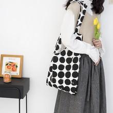 Personalized Design Wave Point Large Capacity Canvas Bag Polka Dot Shopping Adjustable Strap Shoulder for Young Girls