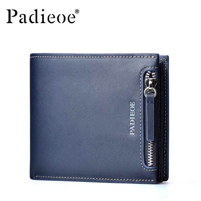 ФОТО  Padieoe High Quality Brand Men Wallet Cowhide Genuine Leather Credit Card Wallet Business Casual Men's Wallet Free Shipping