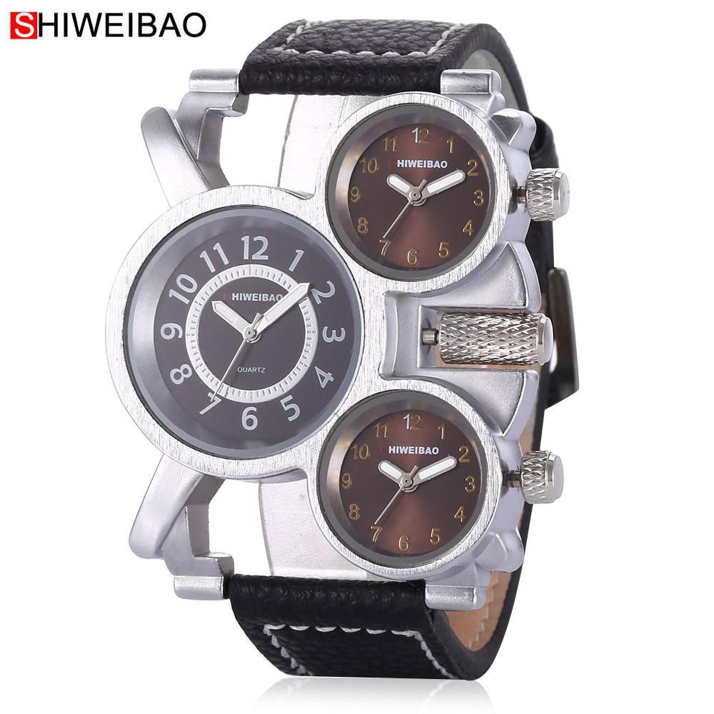 Shiweibao Montres Hommes Montre De Luxe Marque Casual Quartz Montres Quatre Fuseaux horaires Militaire Relogio Masculino Horloge Mâle D3612A