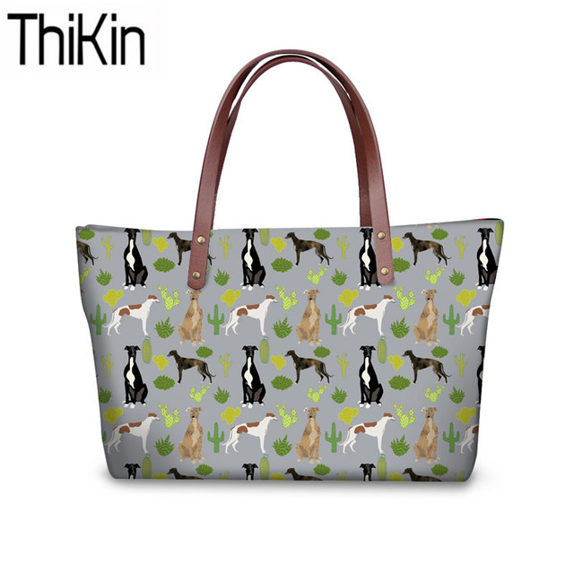 THIKIN Shoulder Bags Women Greyhounds Printing Handbags Fashion Bolsa Feminina Top-Handle Bag Ladies Large Capacity Tote Bags