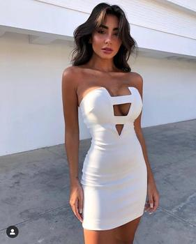 Free Shipping Women Summer Fashion Solid Sexy Key Hole White Bandage Dress 2020 Designer Fashion Evening Party Dress Vestido