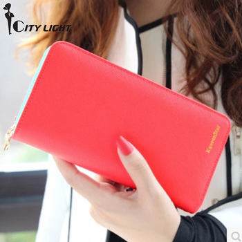New Women's Purse Long Women  Contrast Color Large Capacity Purse Quality Wallet Women Elegant Women Zipper Wallets