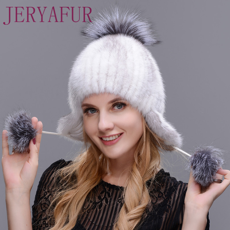 JERYAFUR Winter Woman's Mink Hat New Hat To Protect The Ears Of Mink And Fox Handmade Ski Hat Fur Preparation Of Warm