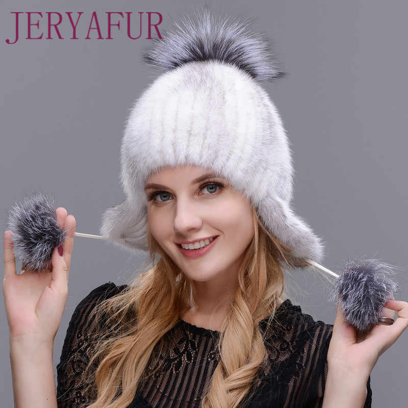 4592a17bf88 JERYAFUR winter woman s mink hat new hat to protect the ears of mink and  fox handmade