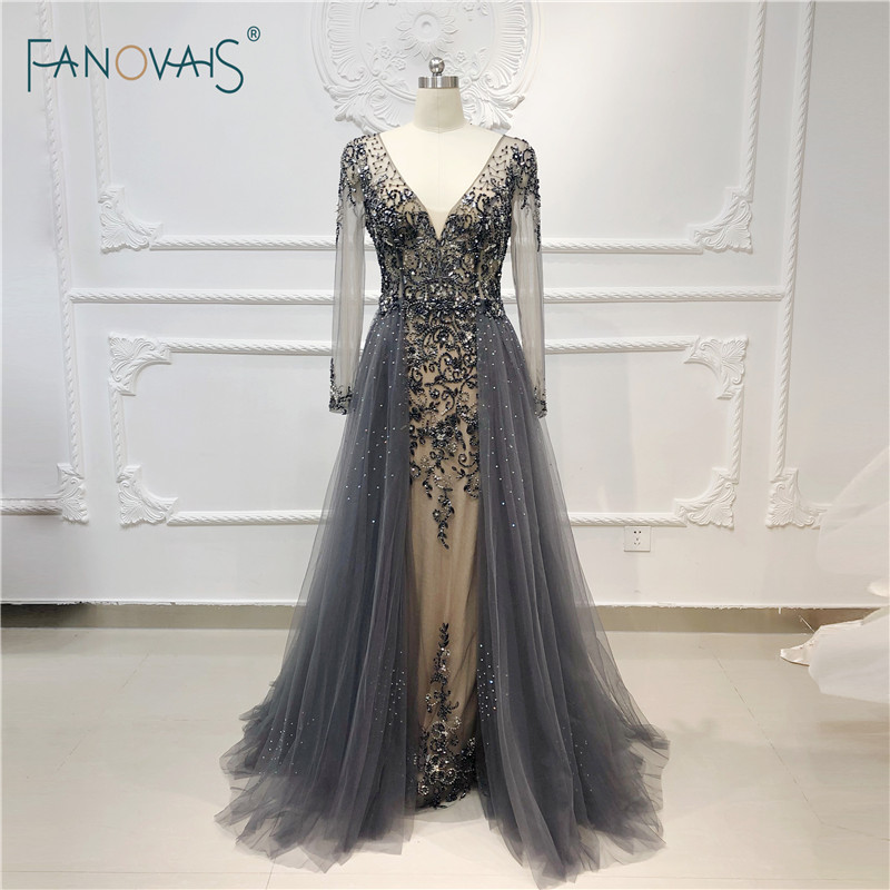 Luxe robes de soirée manches longues col en V cristal perlé Robe de bal 2018 formelle Robe de soirée Robe de soirée 2019 QS13