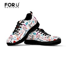 FORUDESIGNS Sneakers Women Flats Dental Equipment Shoes 3D Cute Nurse Printed Lace-up Comfortable for