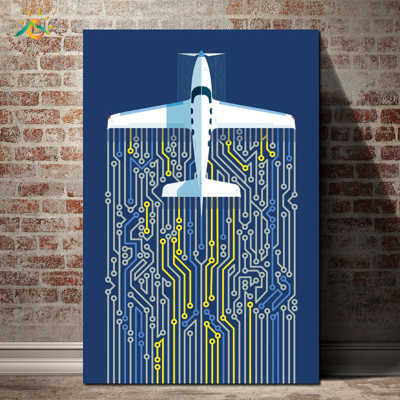 Self Flying Planes Wall Art Canvas Framed Print Painting Vintage Posters and Prints Wall Pictures Modern Home Decoration in Painting Calligraphy from Home Garden